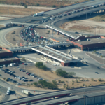Aerial photo of the Zaragosa truck bridge border crossing.