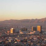 El Paso skyline, sun is low